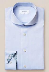 Eton Signature Twill Uni Contrast Overhemd Licht Blauw