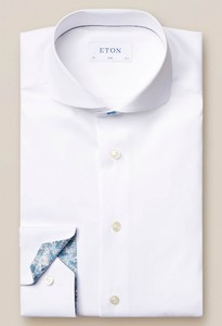 Eton Signature Twill Uni Contrast Overhemd Wit