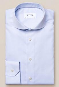 Eton Slim Plain Poplin Overhemd Licht Blauw Melange