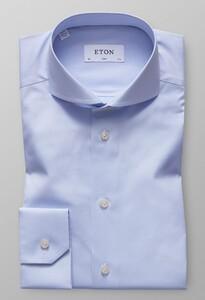 Eton Slim Plain Poplin Shirt Light Blue