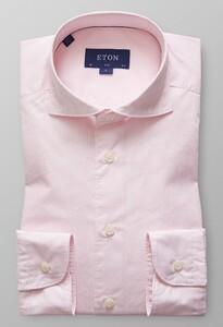 Eton Slim Striped Lightweight Twill Shirt Pink