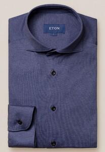 Eton Soft Jersey Uni Overhemd Donker Blauw