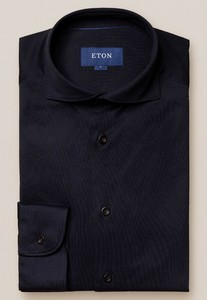 Eton Soft Jersey Uni Overhemd Navy