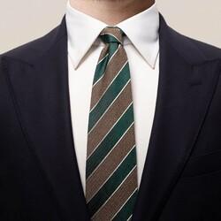 Eton Striped 3D Contrast Tie Dark Green