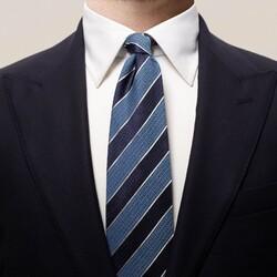 Eton Striped 3D Contrast Tie Dark Navy