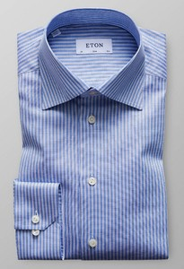Eton Striped Dot Twill Shirt Blue