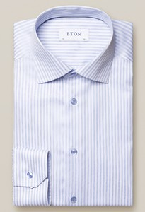 Eton Striped Signature Twill Shirt Overhemd Blauw