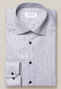 Eton Striped Signature Twill Shirt Overhemd Dark Navy