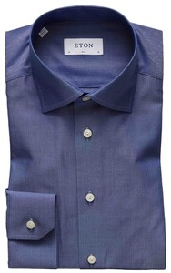 Eton Super Fine Herringbone Overhemd Avond Blauw
