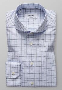 Eton Super Slim Overcheck Twill Overhemd Avond Blauw