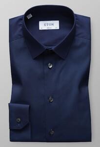 Eton Super Slim Poplin Uni Overhemd Donker Blauw Melange