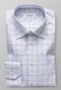 Eton Textured Twill Check Overhemd Diep Blauw