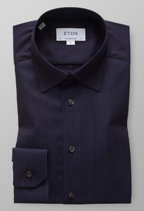Eton Textured Twill Jacquard Overhemd Dark Navy