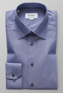 Eton Textured Twill Jacquard Overhemd Diep Blauw
