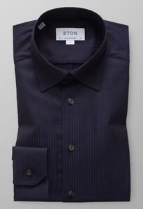 Eton Textured Twill Jacquard Shirt Dark Navy