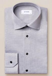 Eton Twill Cutaway Faux Uni Overhemd Grijs-Wit