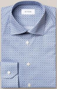 Eton Twill Medallion Overhemd Avond Blauw