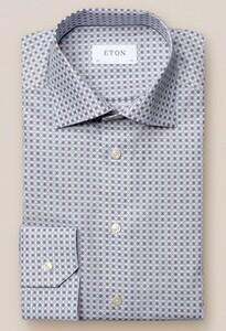 Eton Twill Medallion Shirt Off White-Brown