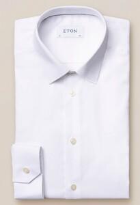Eton Twill Stretch Pointed Collar Overhemd Wit