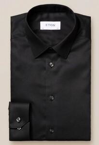 Eton Twill Stretch Pointed Collar Overhemd Zwart