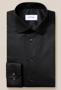 Eton Twill Stretch Shirt Black