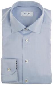 Eton Twill Uni Detail Overhemd Licht Blauw