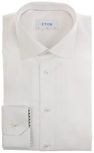 Eton Twill Uni Detail Overhemd Wit