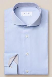 Eton Uni Art Deco Contrast Detail Overhemd Licht Blauw
