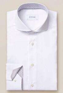 Eton Uni Art Deco Contrast Detail Overhemd Wit