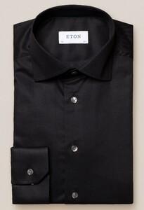 Eton Uni Cutaway Twill Stretch Overhemd Zwart