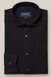 Eton Uni Denim Overhemd Zwart