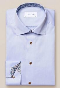 Eton Uni Fine Contrast Pattern Overhemd Licht Blauw