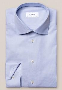 Eton Uni Fine Textured Cotton Lyocell Stretch Overhemd Licht Blauw