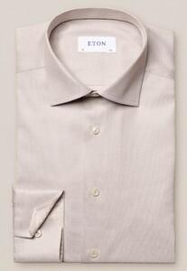 Eton Uni Fine Textured Cotton Lyocell Stretch Overhemd Licht Bruin