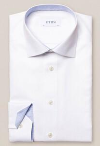 Eton Uni Fine Textured Cotton Lyocell Stretch Overhemd Wit