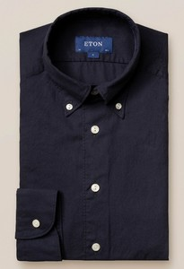 Eton Uni Flanel Button Under Overhemd Navy