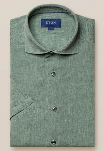 Eton Uni Linnen Korte Mouw Overhemd Groen