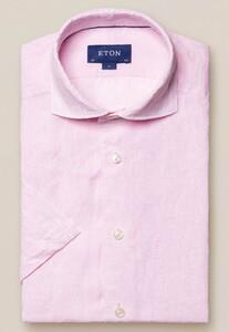 Eton Uni Linnen Korte Mouw Overhemd Licht Roze