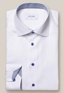 Eton Uni Poplin Fine Contrast Overhemd Wit