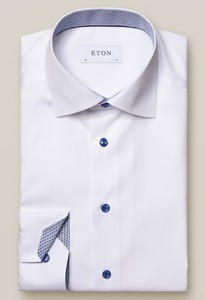 Eton Uni Poplin Fine Contrast Shirt White