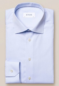 Eton Uni Poplin Shirt Overhemd Licht Blauw Melange