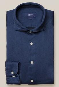 Eton Uni Satin Indigo Overhemd Indigo