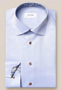 Eton Uni Signature Twill Floral Contrast Pattern Overhemd Licht Blauw