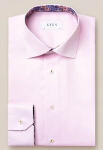 Eton Uni Signature Twill Flower Detail Overhemd Roze