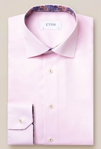 Eton Uni Signature Twill Flower Detail Shirt Pink