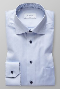 Eton Uni Signature Twill Geometric Detail Overhemd Licht Blauw