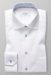 Eton Uni Signature Twill Geometric Detail Overhemd Wit