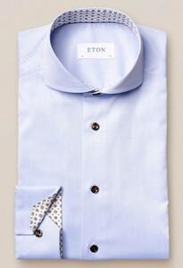 Eton Uni Signature Twill Medallion Detail Overhemd Licht Blauw