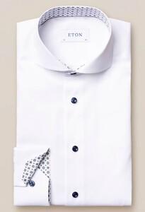 Eton Uni Signature Twill Medallion Detail Overhemd Wit