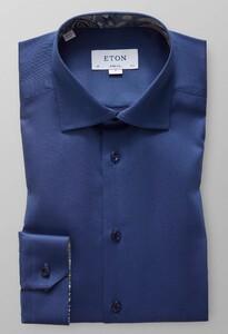 Eton Uni Signature Twill Paisley Detail Overhemd Donker Blauw Melange